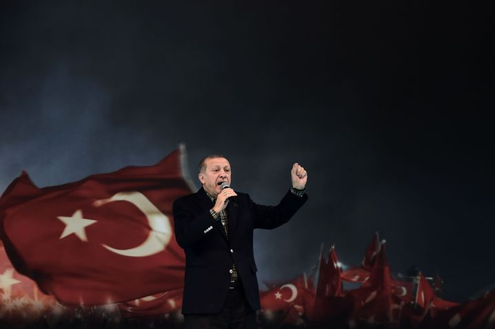 """Erdogan at the venue where he made the """"Nazi practices"""" comparison on Sunday."""