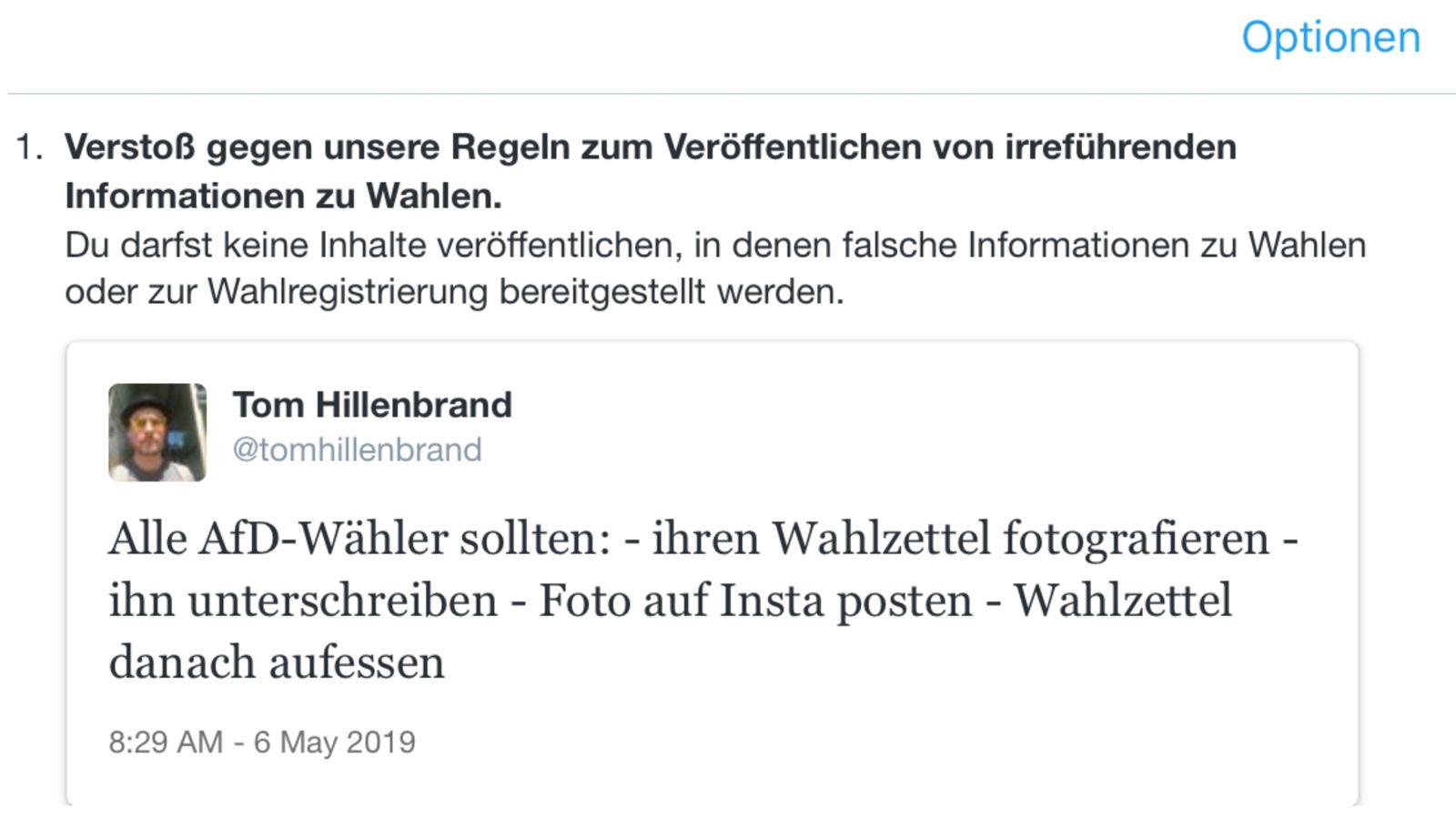 NUR ALS ZITAT Screenshot Netzwelt/ Twitter Account-Sperren