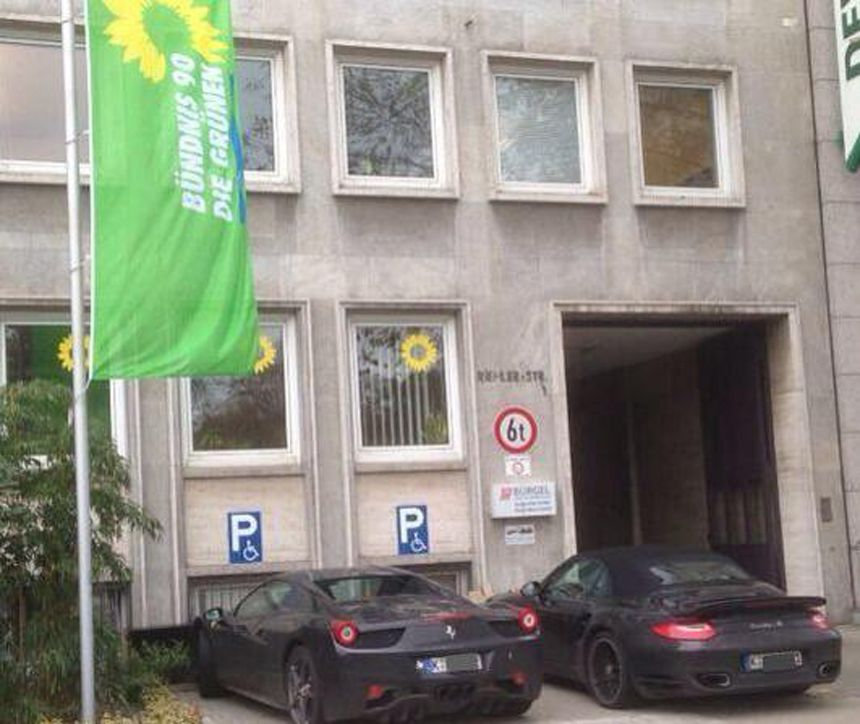 EINMALIGE VERWENDUNG Bündnis 90 / Die Grünen / Parkplatz