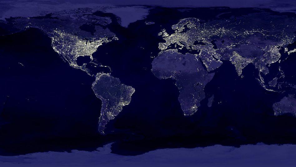 Künstliches Licht auf der Erde (Satellitenbild): Tödliche Falle für einige Tierarten