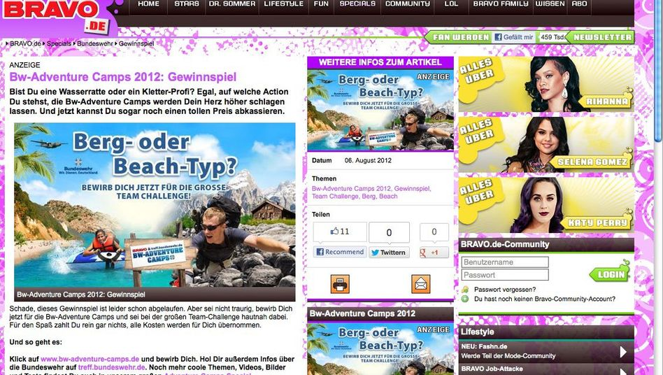 """Werbung für das """"BW-Adventure-Camp"""" auf Bravo.de: """"Absolut inakzeptabel"""""""