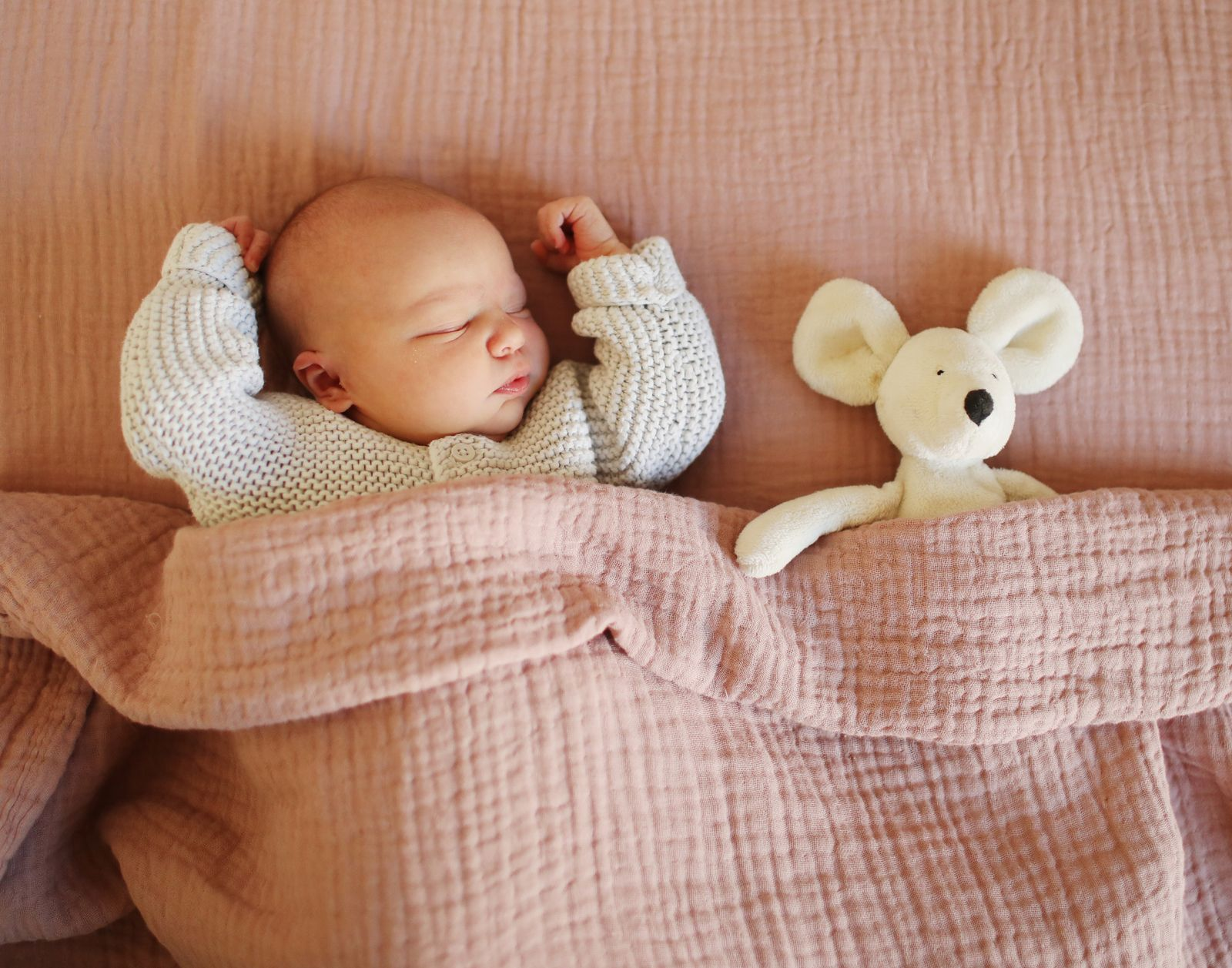 A newborn sleeping with his cuddly toy at home