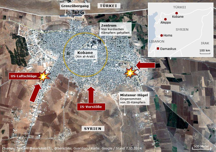 Karte Kobane - IS-Vorstöße US-Luftschläge - Stand 7.10.2014