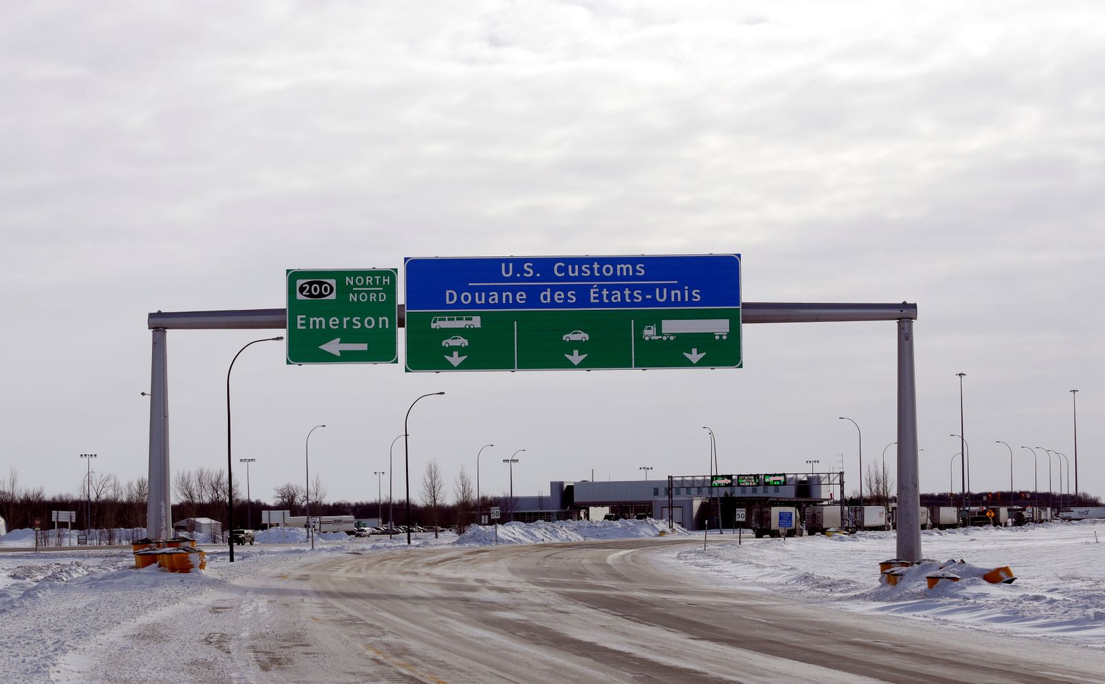 The Canadian side of the Canada-U.S border crossing, where refugees make their way into the province, is seen in Emerson