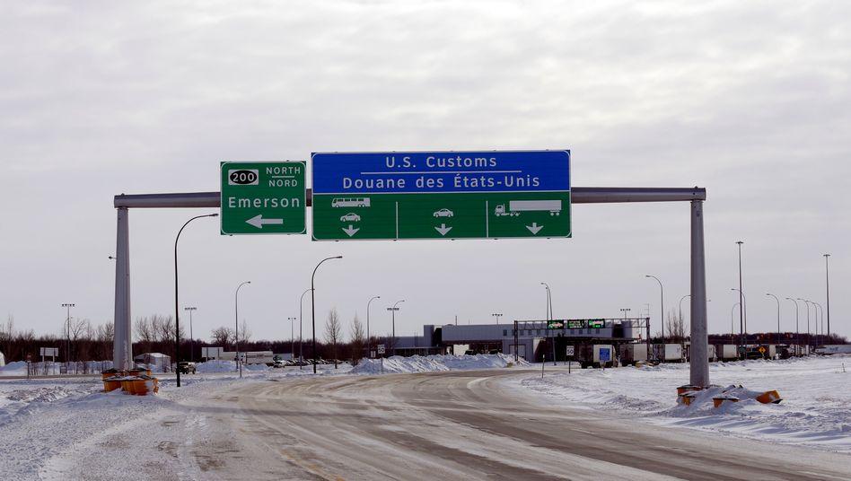 Kanadische Grenze zu den USA (hier in Emerson/Manitoba).