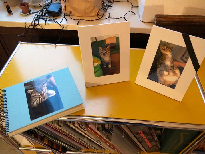 Zwei Bilder und ein Fotoalbum zur Erinnerung auf dem Trauerkaffeetrinken für Blaudi.