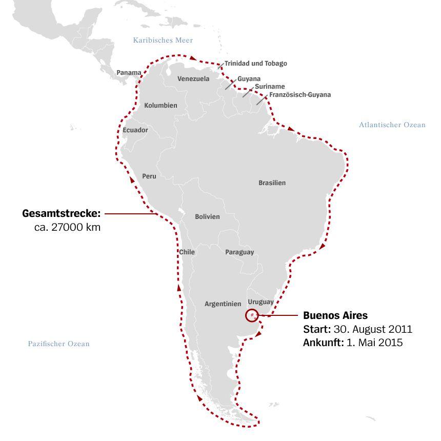 Karte Freya Hoffmeister um Südamerika gepaddelt v2