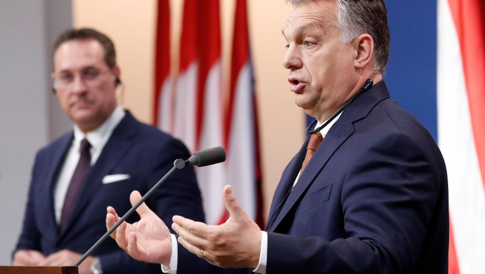 Österreichs Vizekanzler Heinz-Christian Strache, Ungarns Ministerpräsident Viktor Orbán