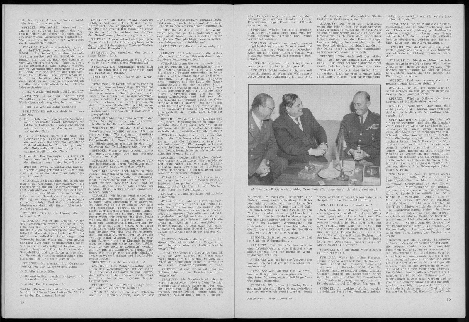 EINMALIGE VERWENDUNG Faksimile SPIEGEL 1/1957