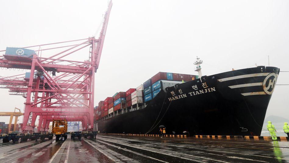 Containerschiff von Hanjin