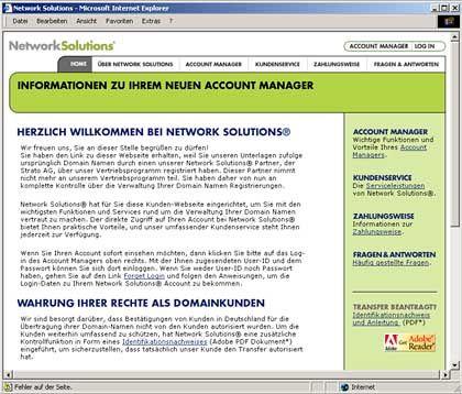 """Deutsche Seite von Network Solutions: """"Cowbow-Methoden"""" und """"Domain-Geiselhaft"""""""