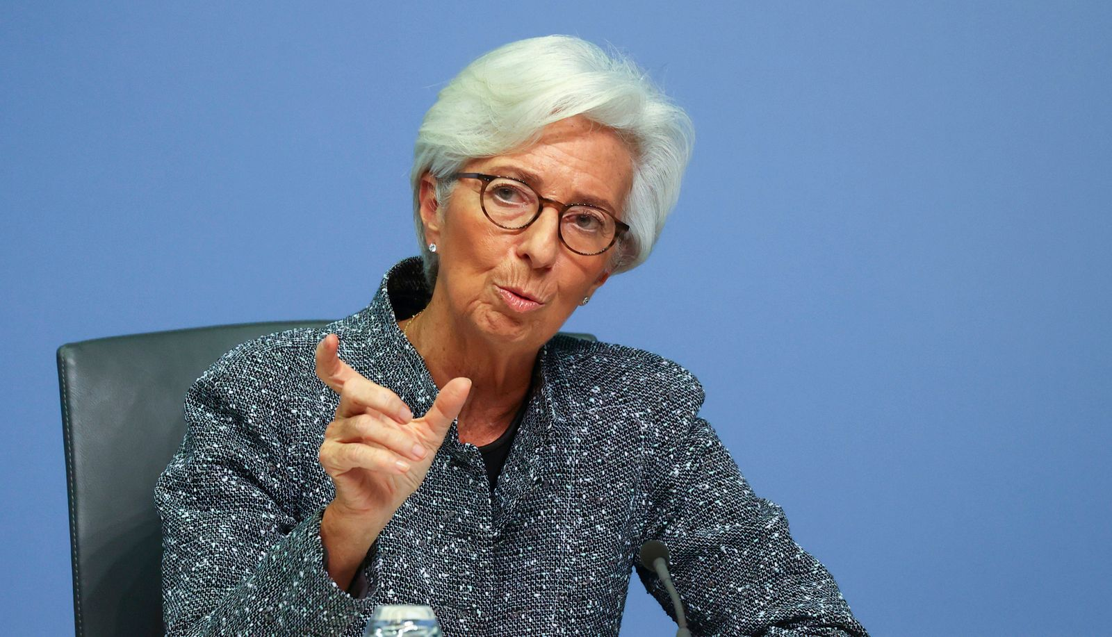 FILE PHOTO: European Central Bank (ECB) President Christine Lagarde gestures during a news conference on the outcome of the meeting of the Governing Council, in Frankfurt