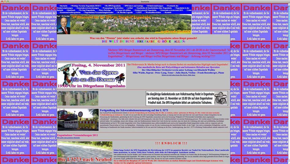 Screenshot der Internetseite der SPD Engenhahn: Grell und bunt