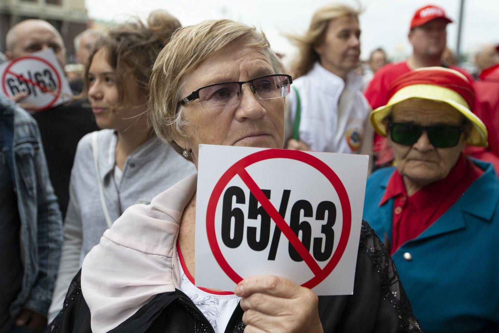 Russland Proteste gegen Rentenreform