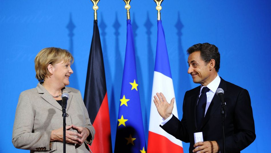 German Chancellor Angela Merkel and French President, Nicolas Sarkozy at a summit on Monday in Deauville, France.
