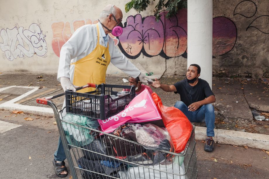 """Father Lancellotti frequently receives threats on social media or is verbally abused in public because of the support he provides the homeless: """"It's the hatred people have for the poor,"""" he says."""
