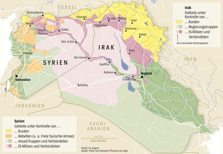 Gebiete unter Kontrolle in Syrien und im Irak (Stand: 14. August)