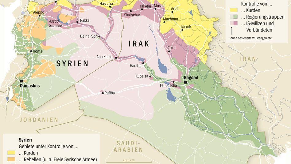 Gebiete unter IS-Kontrolle in Syrien und im Irak (Stand: 14. August): US-Einsatz verlief erfolglos