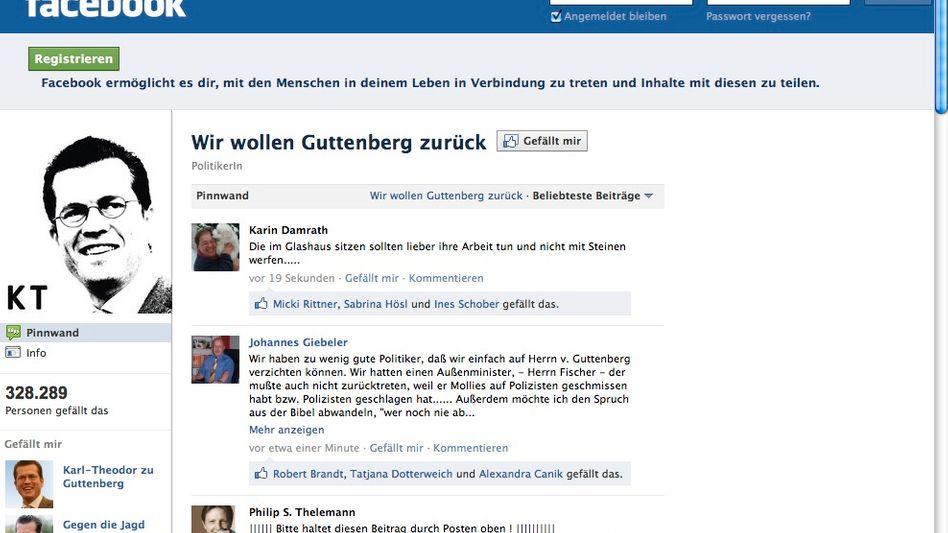 """Pro-Guttenberg-Gruppe bei Facebook: """"Nicht alt, verkalkt, senil und futterneidisch"""""""