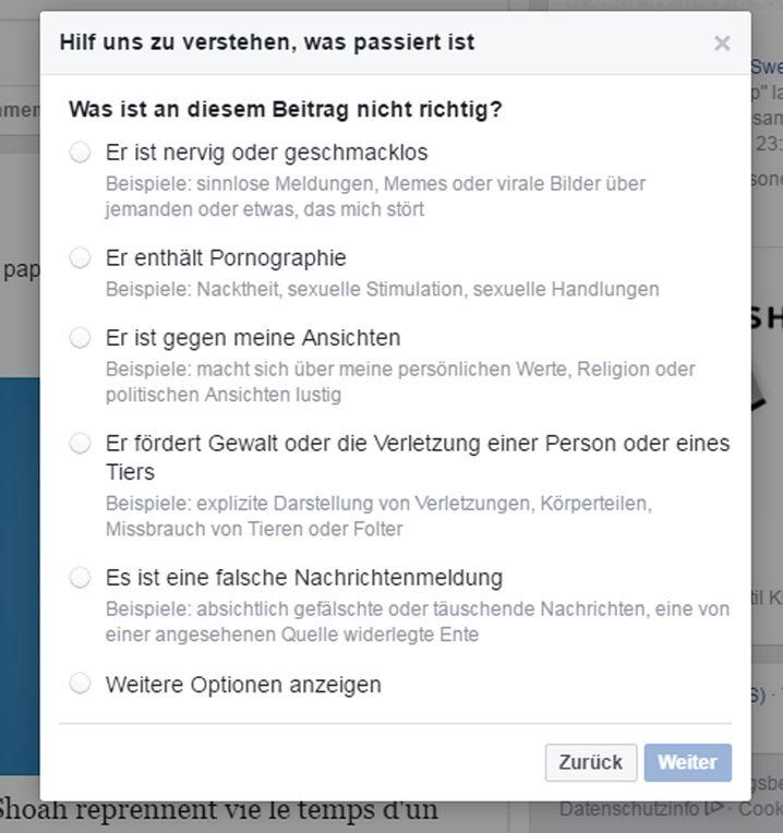 Meldefenster bei Facebook