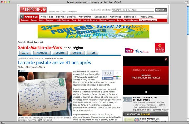 """Fotografierte die Postkarte, bevor sie ein weiteres Mal verschwand: """"La Dépêche du Midi"""""""
