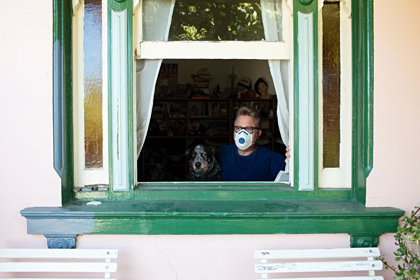 Middle Aged Sick Man Under Home Quarantine Due To Covid19 In Window Looking Out