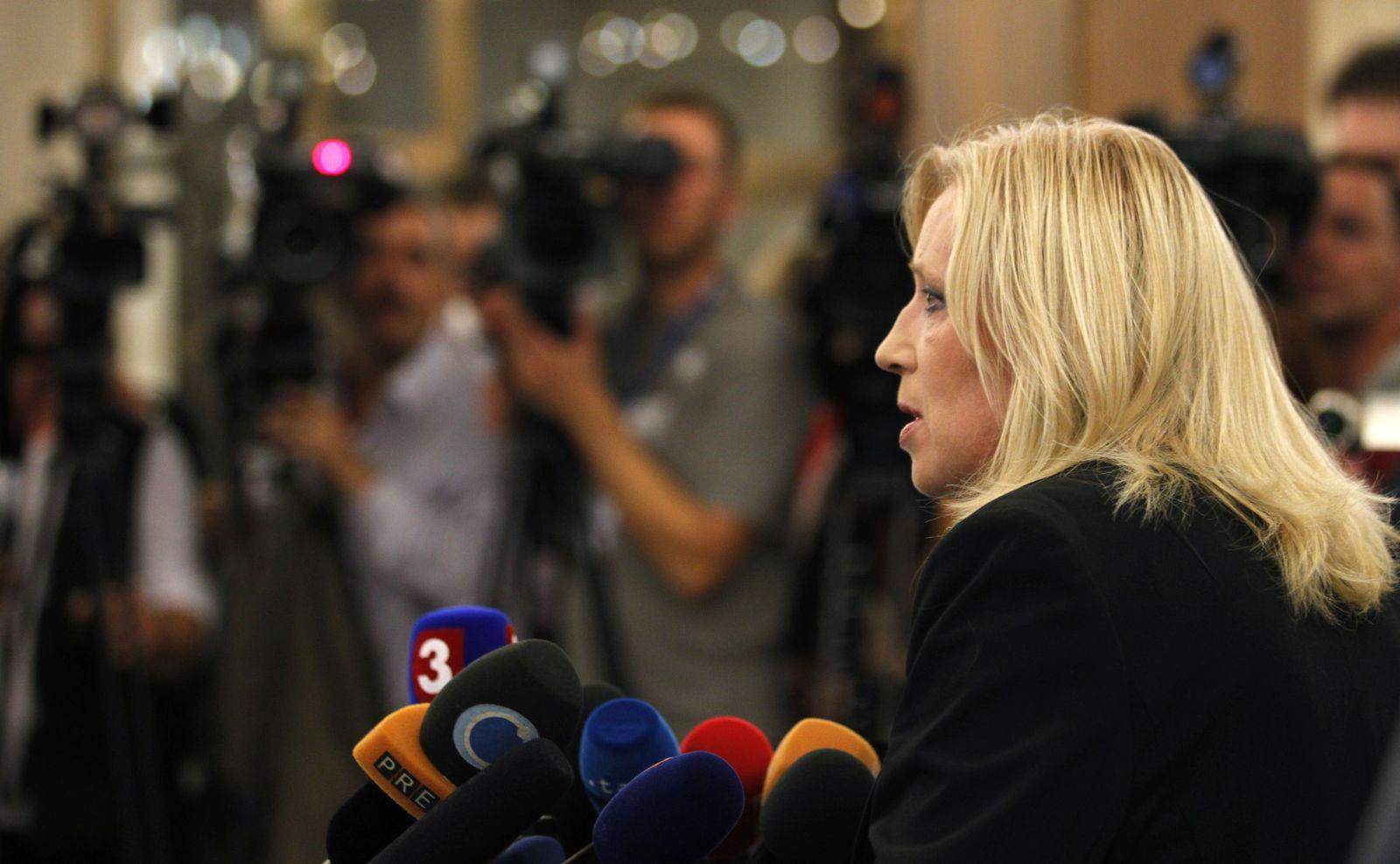 Iveta Radicova addresses the media