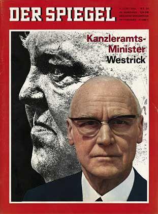 Westrick vor Erhard-Porträt(SPIEGEL-Titel von 1966): Viel Neid auf seine starke Stellung im Kanzleramt