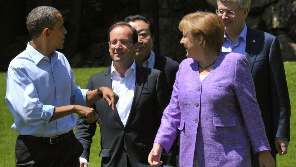Obama, Hollande, Merkel beim G-8-Gipfel: