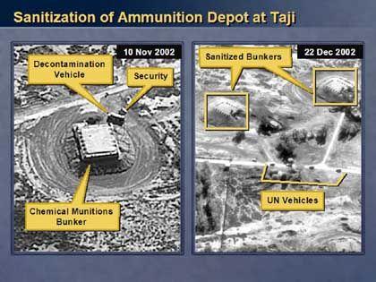 Angeblicher Beweis gegen den Irak: Luftbild einer irakischen Raketenfabrik