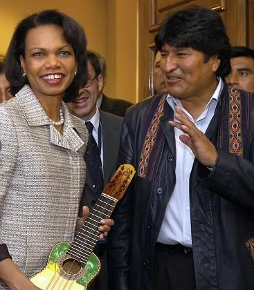 US Secretary of State Condoleezza Rice was presented with a charango from Morales on a visit to Chile in March.