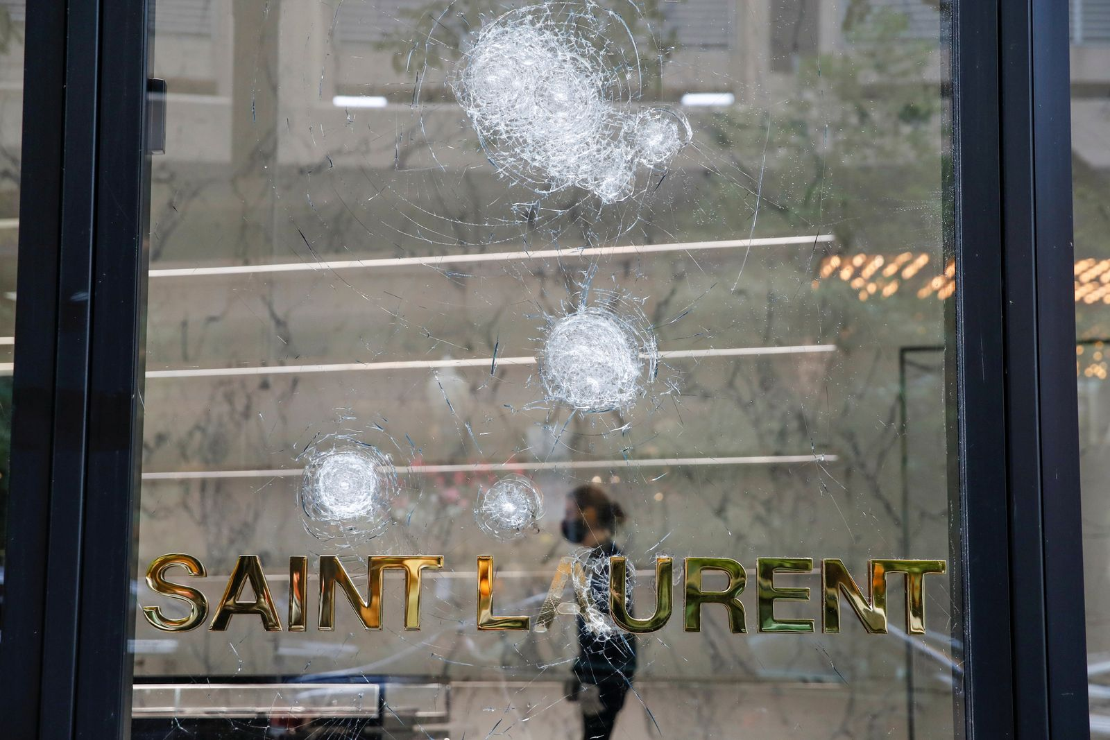Looted Yves Saint Laurent Gold Coast shop is seen in Chicago