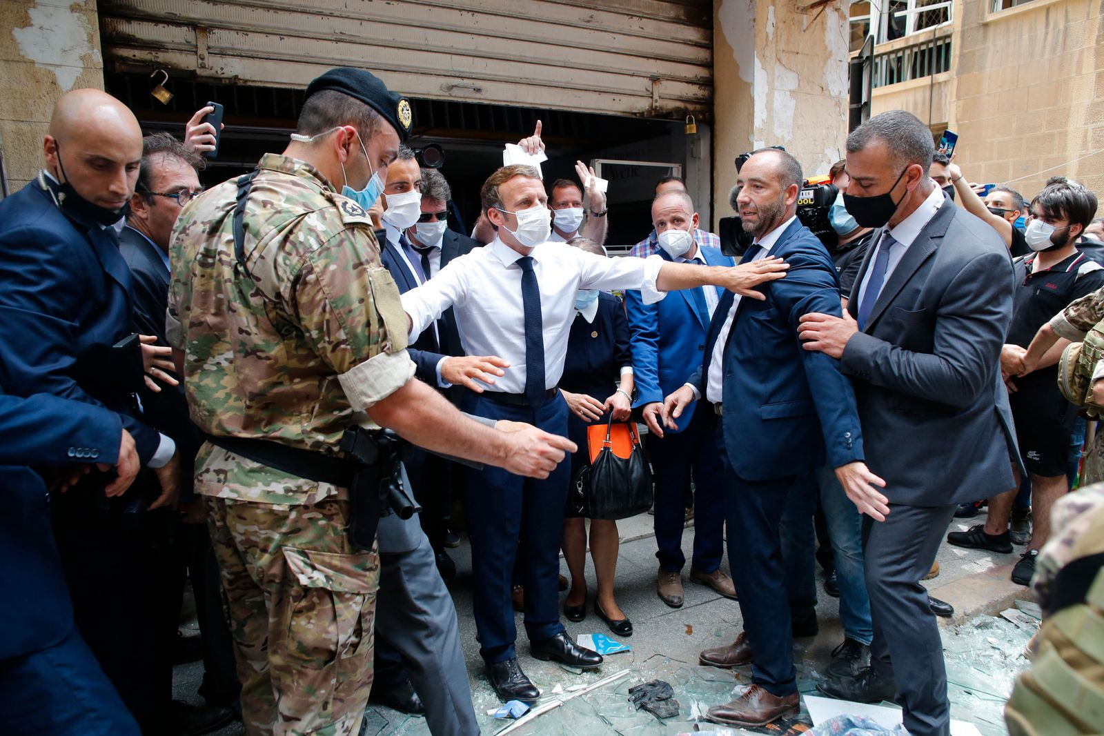 President Macron Visits Gemmayze District After Explosion - Beirut