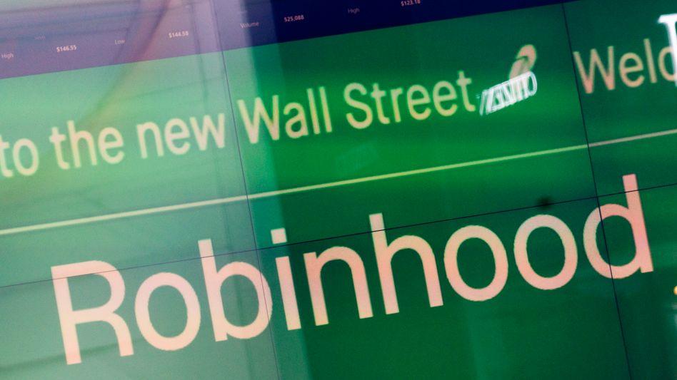 Robinhood-Werbung am Times Square: mauer Auftakt