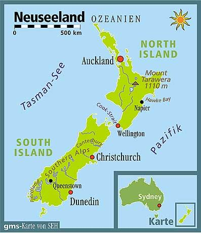 Übersichtskarte des Nord- und Südinsel Neuseelands