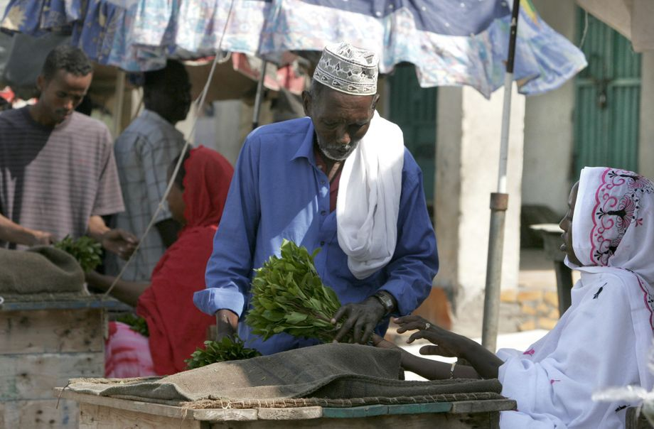 Khat sales in Djibouti City: Trade in the drug, which is legal here, has been largely unaffected by the coronavirus pandemic.