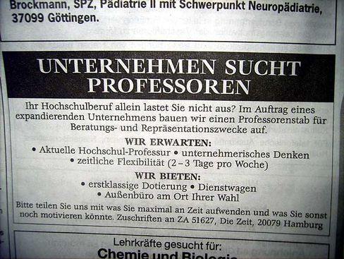 Annonce der Autoren: So wurden die Professoren geködert