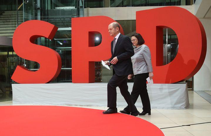 Künftiger Vizekanzler Olaf Scholz, designierte SPD-Chefin Andrea Nahles