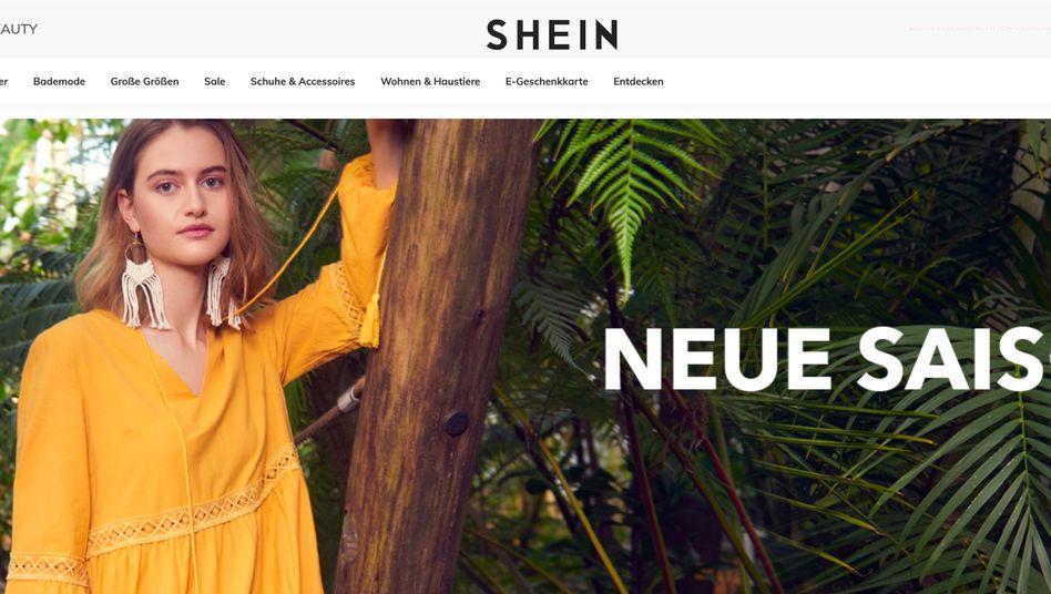 Screenshot des Fast-Fashion-Anbieters Shein aus China