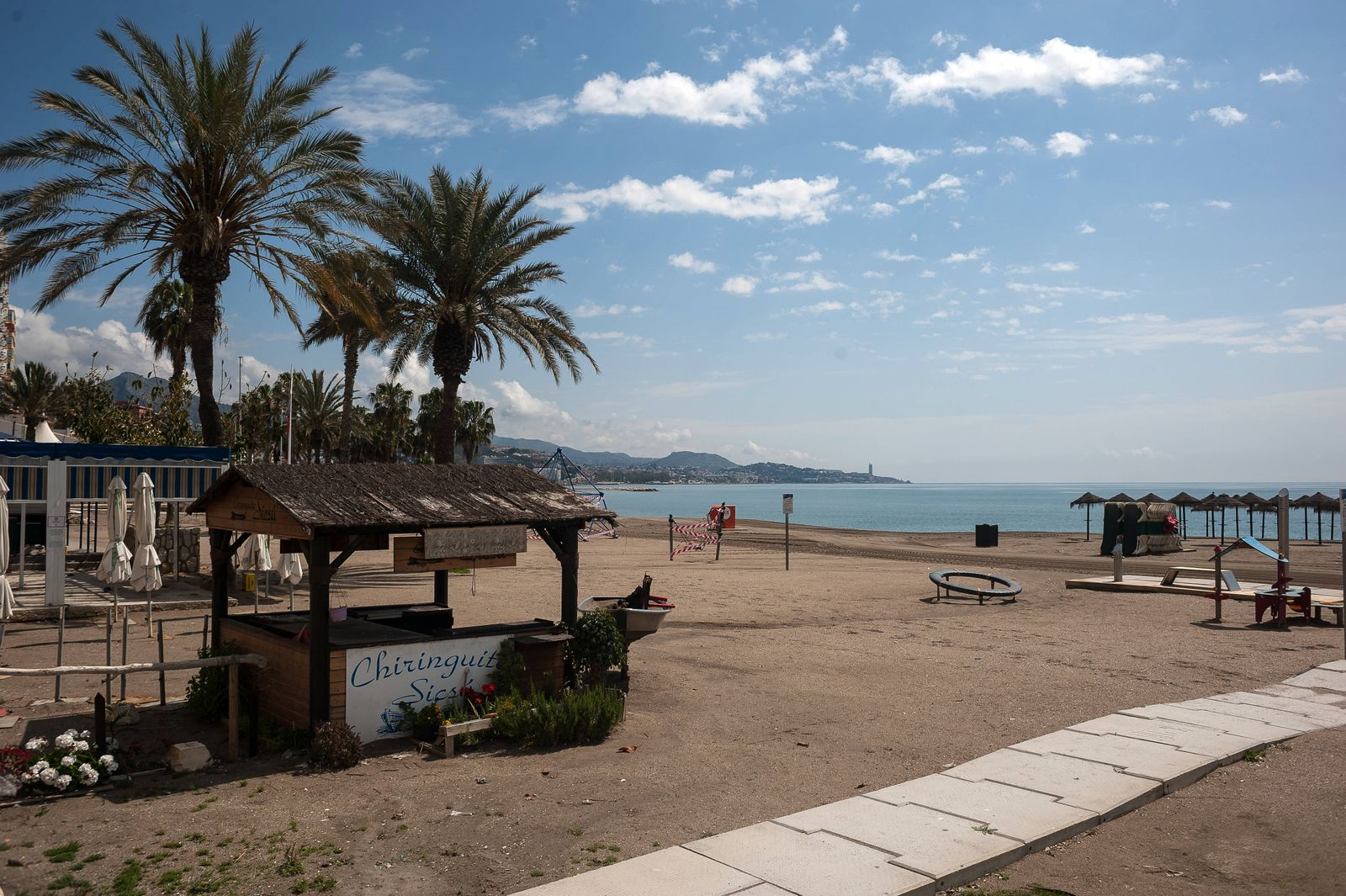 April 14, 2020, Malaga, Spain: Malagueta beach closed due to the confinement regulations amid coronavirus outbreak..Span