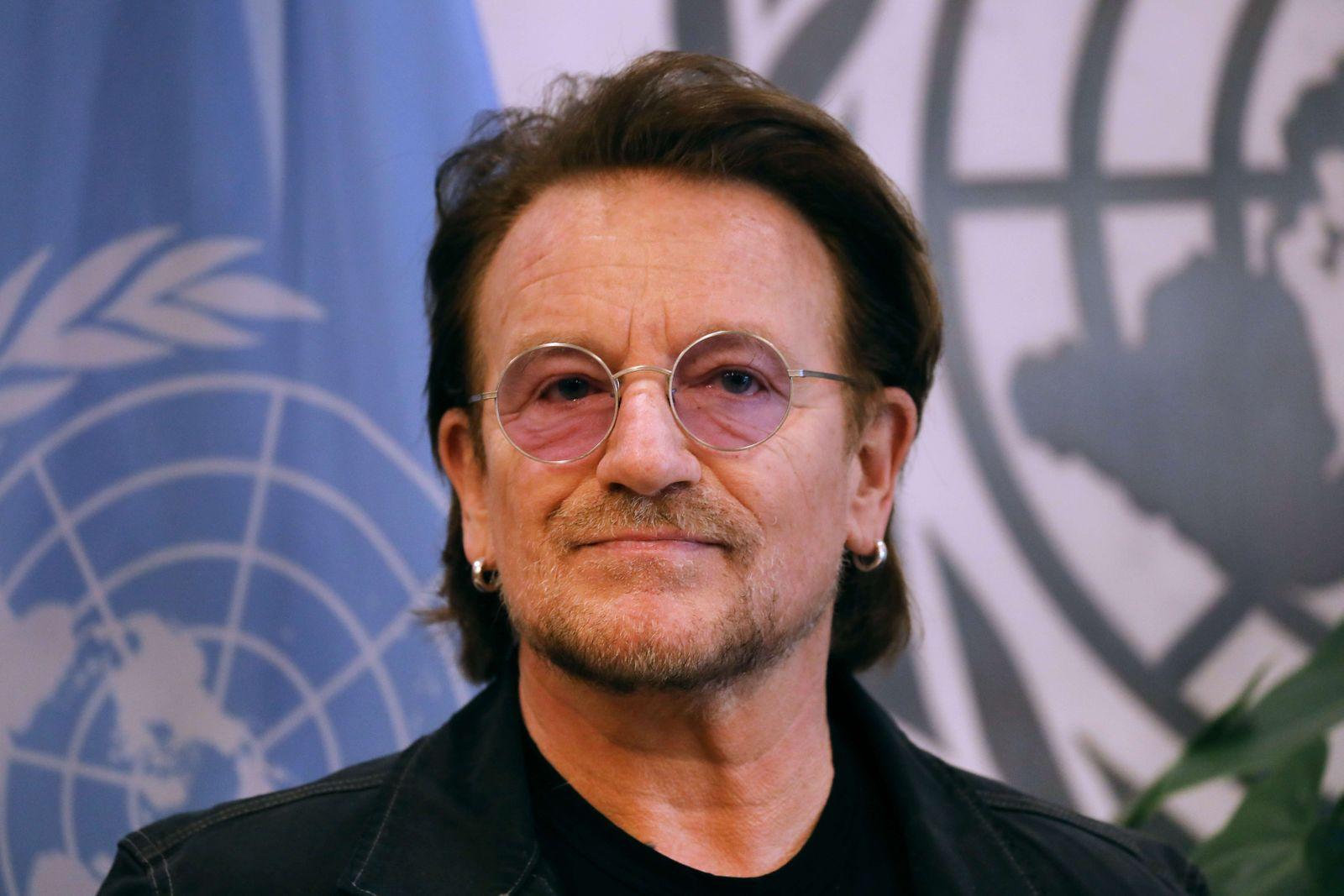 Bono Meets With United Nations Secretary General Antonio Guterres At The U.N.