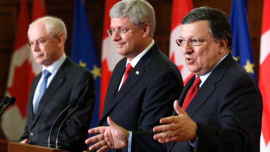 Van Rompuy, Harper, Barroso (v.l.): Umstrittene Investitionsschutz-Regelungen