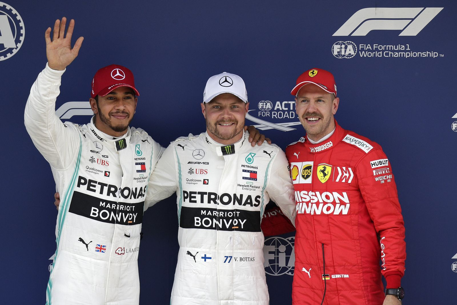 Formel 1: Grand Prix von China Vettel Bottas Hamilton
