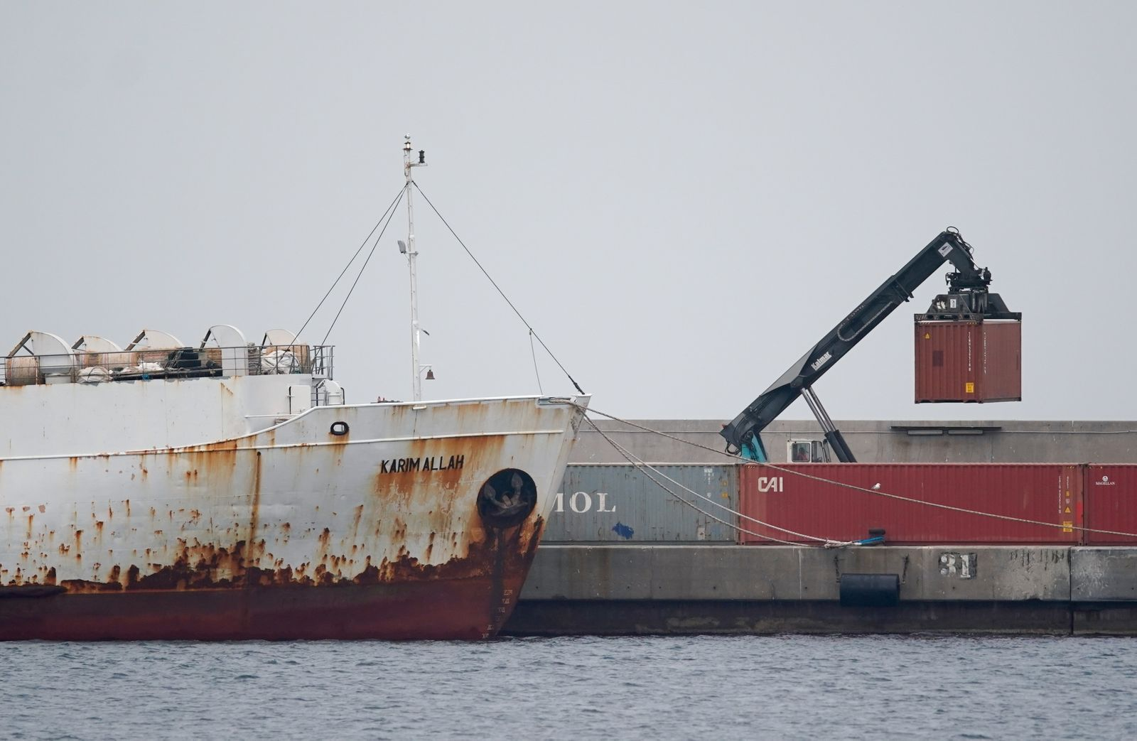 "Livestock ship ""Kharim Allah"" carrying Spanish cattle stranded on ship with suspected bluetongue in Cartagena"