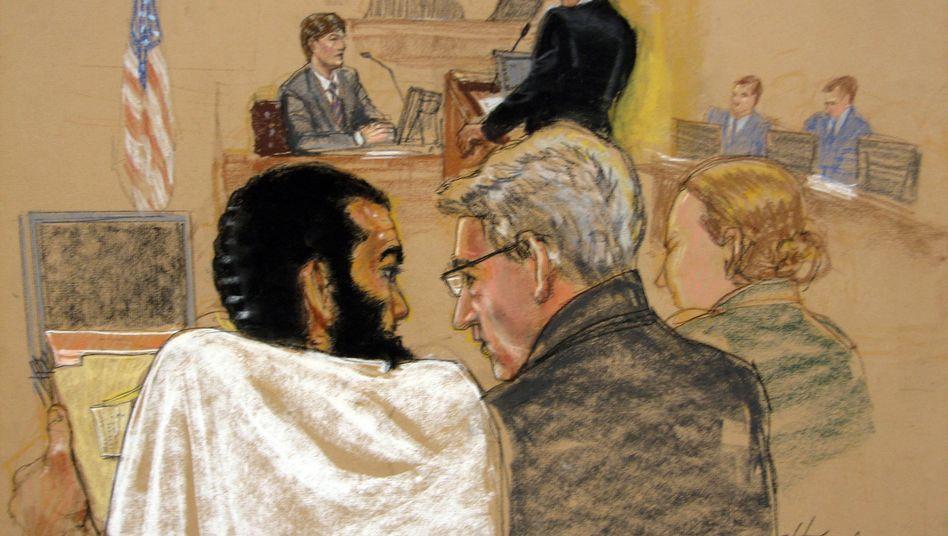 Omar Khadr (links) auf einer Gerichtszeichnung: Verurteilt wegen Mord