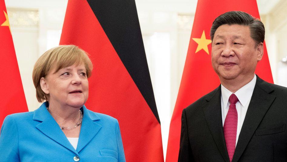 Bundeskanzlerin Merkel mit Chinas Präsident Xi Jinping (im Jahr 2018)