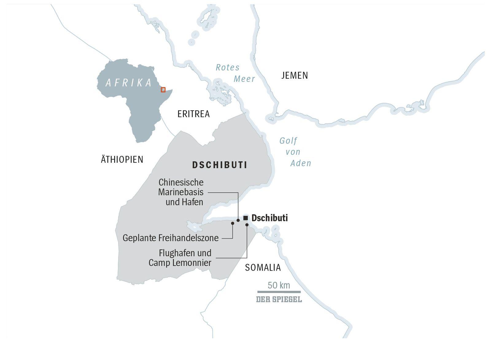 Karte Dschibuti SPIEGEL PLUS SPIEGEL 6/2018 S.86