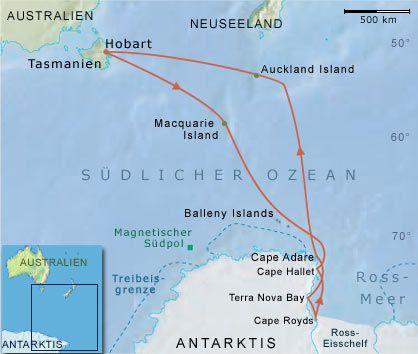 """Reiseroute der """"Kapitan Khlebnikov"""": In das antarktische Rossmeer und zu den subantarktischen Inseln Neuseelands"""