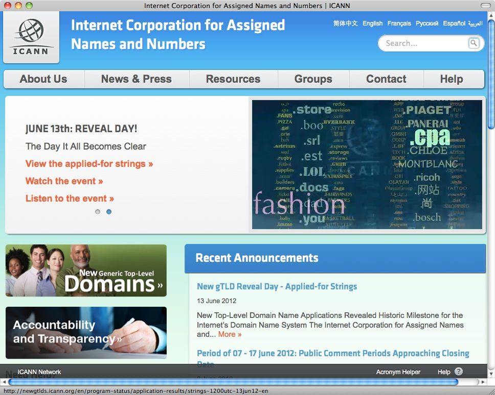 NUR ALS ZITAT Screenshot icann.org