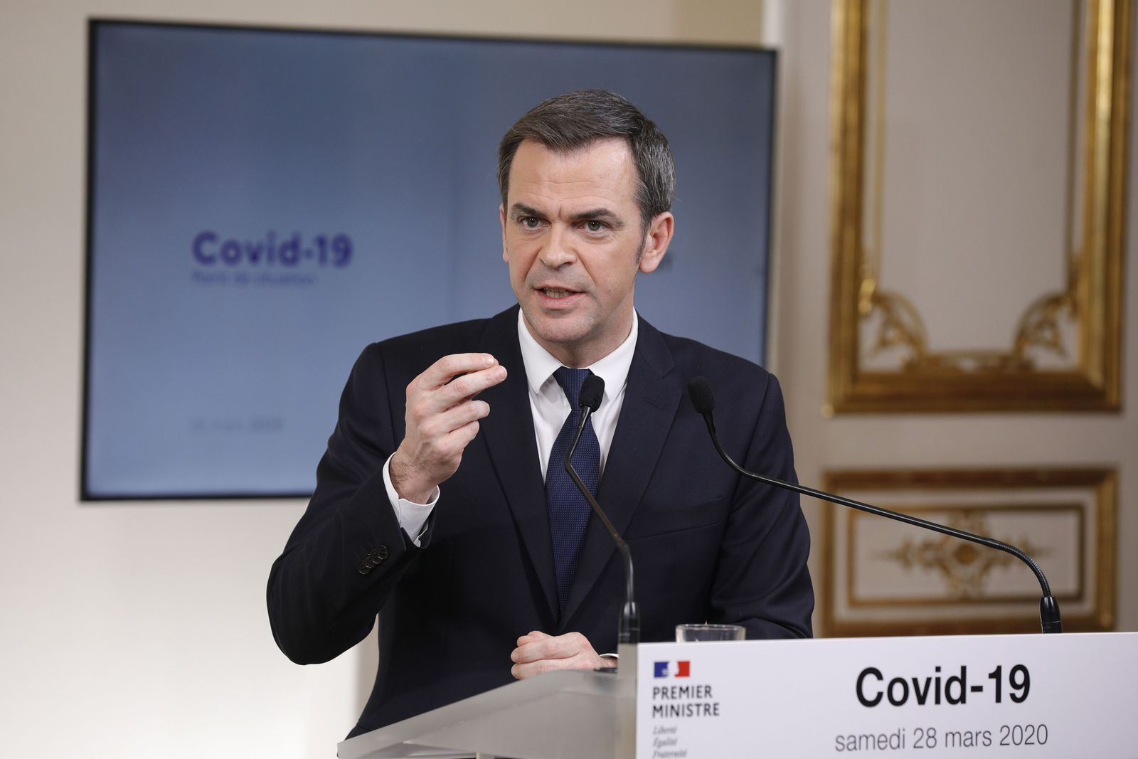 French government press conference on Coronavirus Covid-19 crisis, Paris, France - 28 Mar 2020